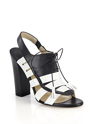 Paul Andrew 'Dimitros' Oxford Lace-Up Strappy Sandals In Black-White