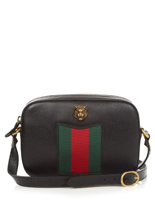 017a74452da Gucci Animalier Disco Canvas-Paneled Textured-Leather Shoulder Bag In Black