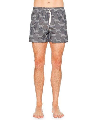61b1aa3763 Thom Browne Hector Short-Length Dachshund-Jacquard Swim Shorts In ...
