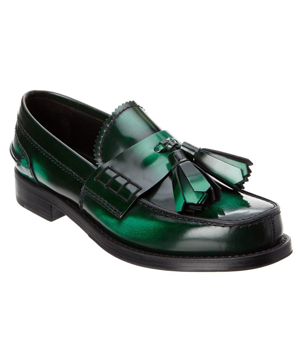 Prada Brushed Leather Tassel Loafer In Green