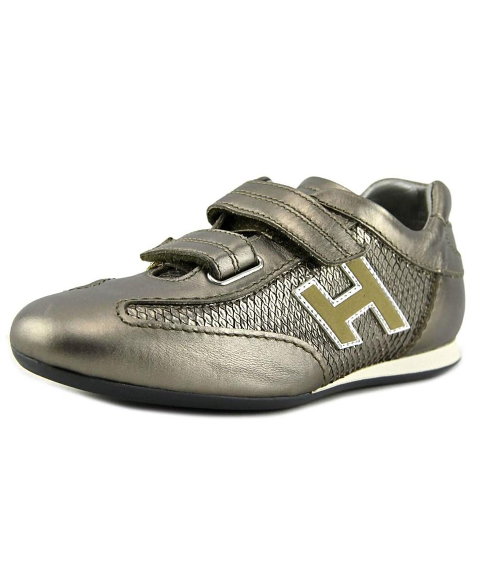 Hogan Olympia Splash Donna Round Toe Leather Sneakers In Silver ...
