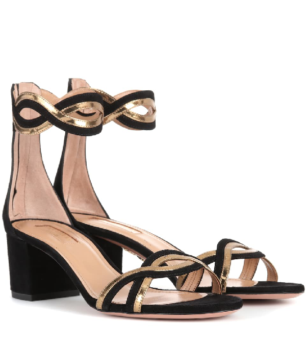 93be98cad23f2 Aquazzura Moon Ray 50 Suede Sandals In Black. SIZE & FIT INFORMATION