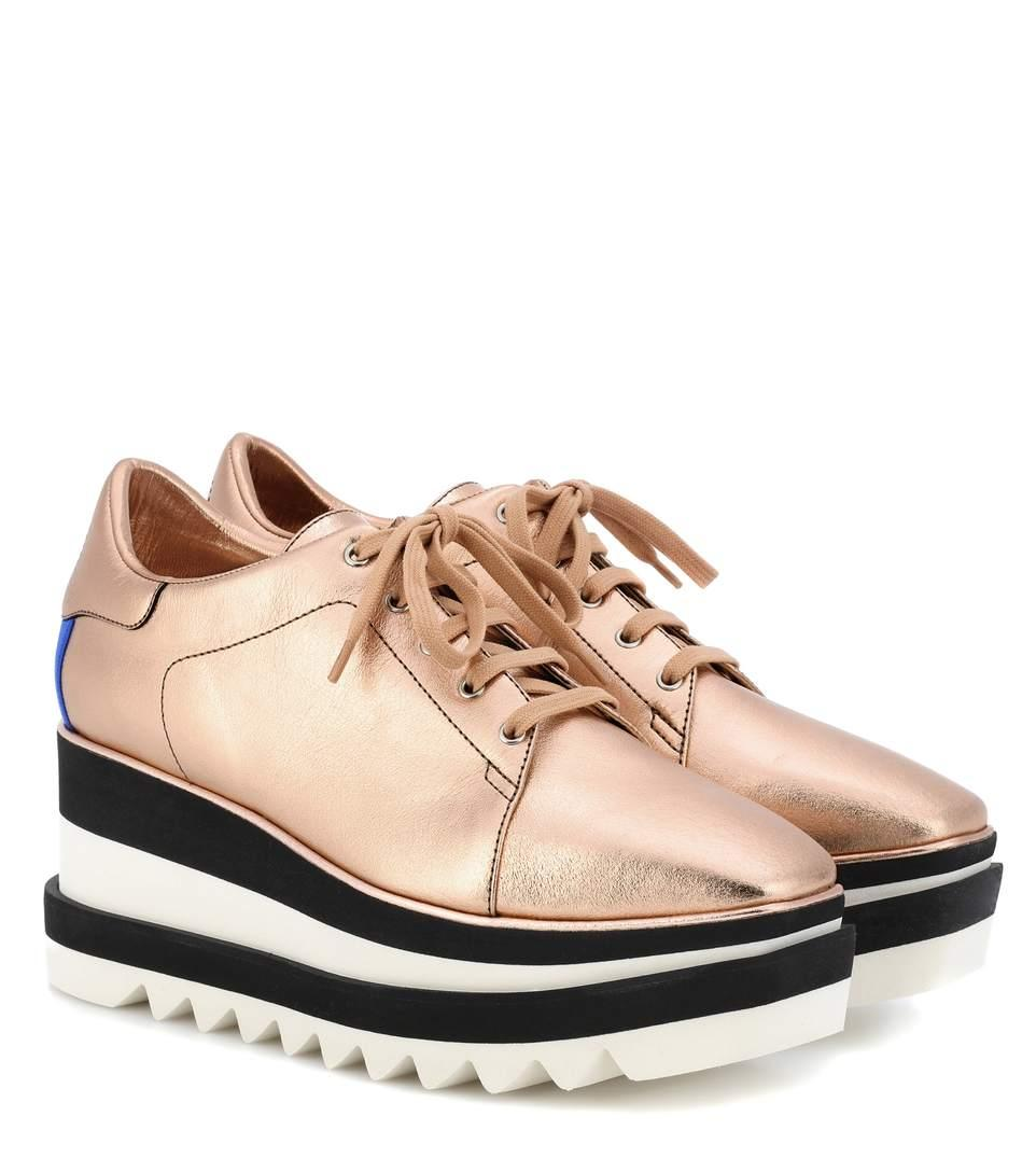 9c41b562382b Stella Mccartney Elyse Lace-Up Faux-Leather Platform Shoes In Apricot-Nude