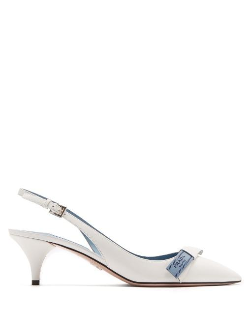 bfd8fe0a1118 Prada Point-Toe Leather Slingback Pumps In White