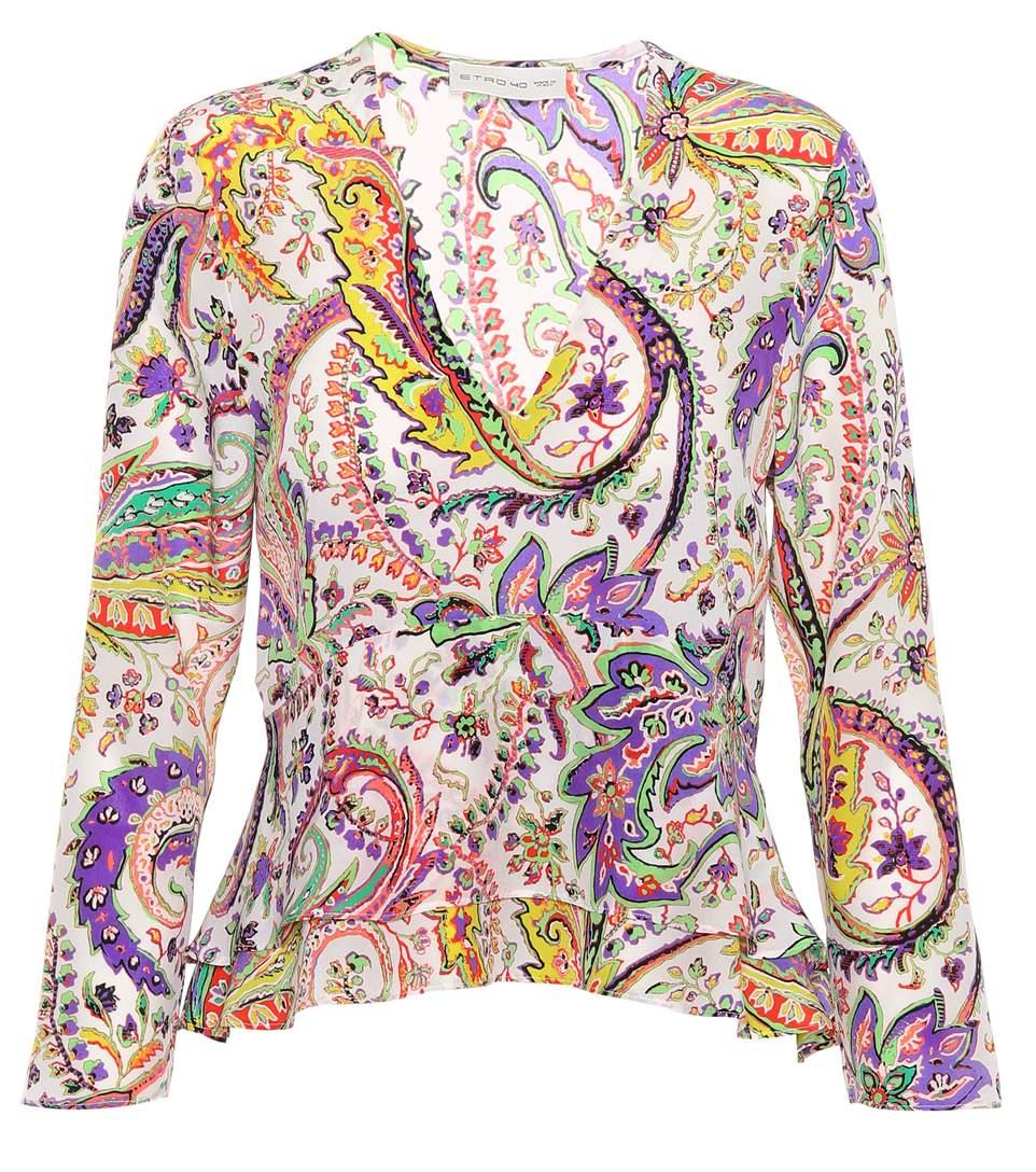 Etro Printed Silk Blouse In Multicoloured