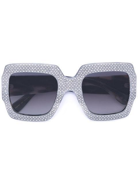 01a7bcf8fbd3c Gucci Oversized Square Frame Rhinestone Sunglasses