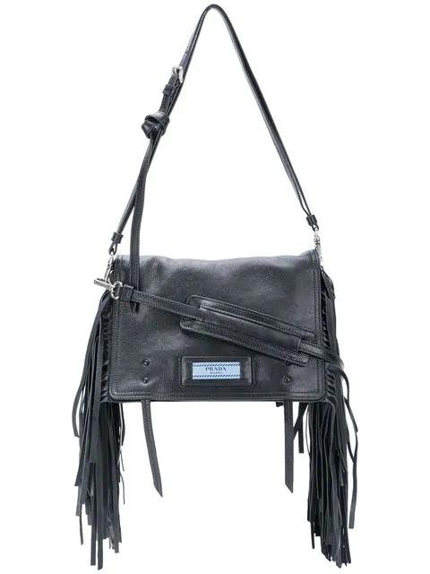 13492be8b271 Prada Glace Etiquette Fringe Shoulder Bag In Black/Blue | ModeSens