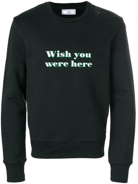 Ami Alexandre Mattiussi Printed Cotton-jersey Sweatshirt In 001 Black