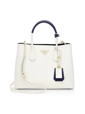 Prada Large Double Leather Tote In Bluette