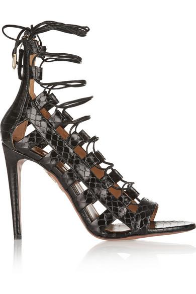Aquazzura Amazon Lace-up Elaphe Sandals In Black