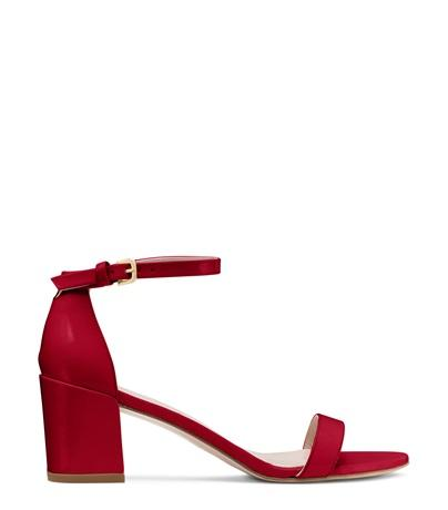 Stuart Weitzman The Simple Sandal In Flame Red Patent