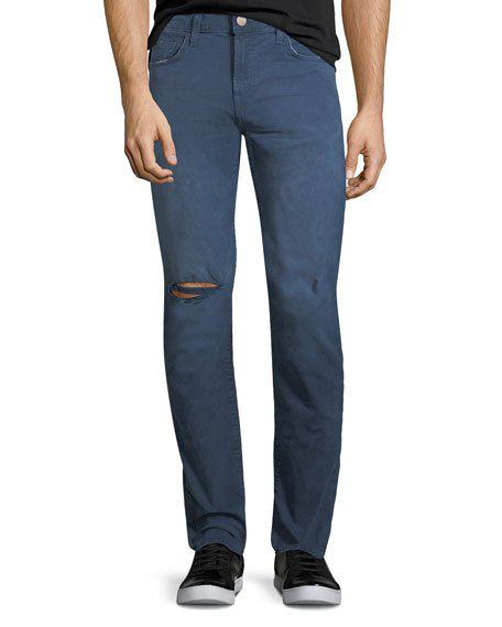 J Brand Men's Tyler Torn & Thrashed Denim Jeans In Torn Thrash Nevy