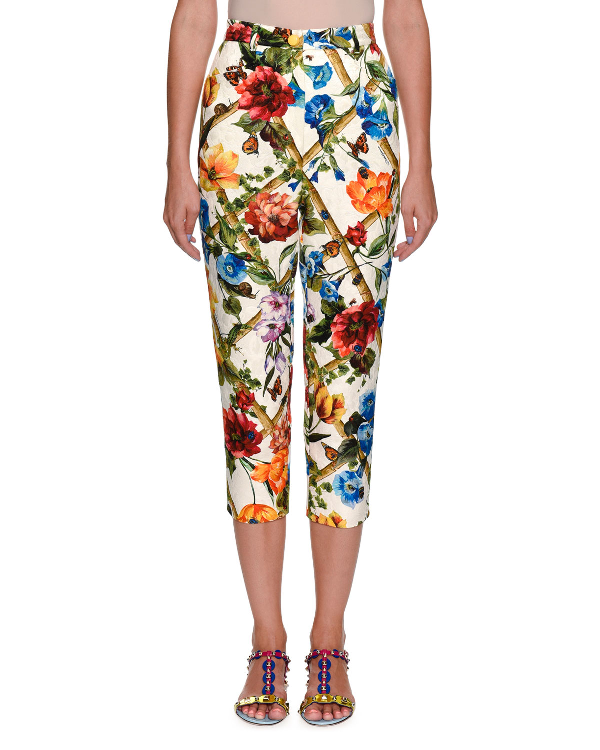 Dolce & Gabbana Cropped Floral Bamboo-print Cotton-silk Pants In Multi Pattern