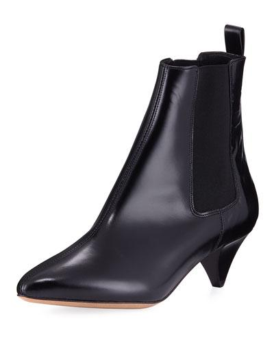 Isabel Marant Dawell Low-Heel Leather Boots In Black