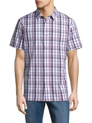 Vince Plaid Short-sleeve Cotton Shirt In Pink