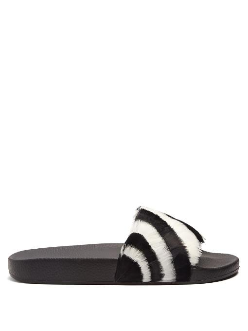 Valentino Free Feathers Pool Slide Sandal In Black White