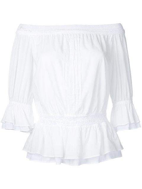 Guild Prime Off The Shoulder Lace Frill Top In White