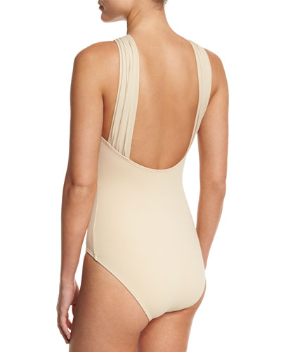 a552a99e1fc Michael Michael Kors Twist-Front Halter One-Piece Swimsuit, Sand In Black