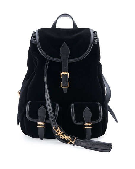 2840e16d Small Festival Backpack In Black Velour And Leather