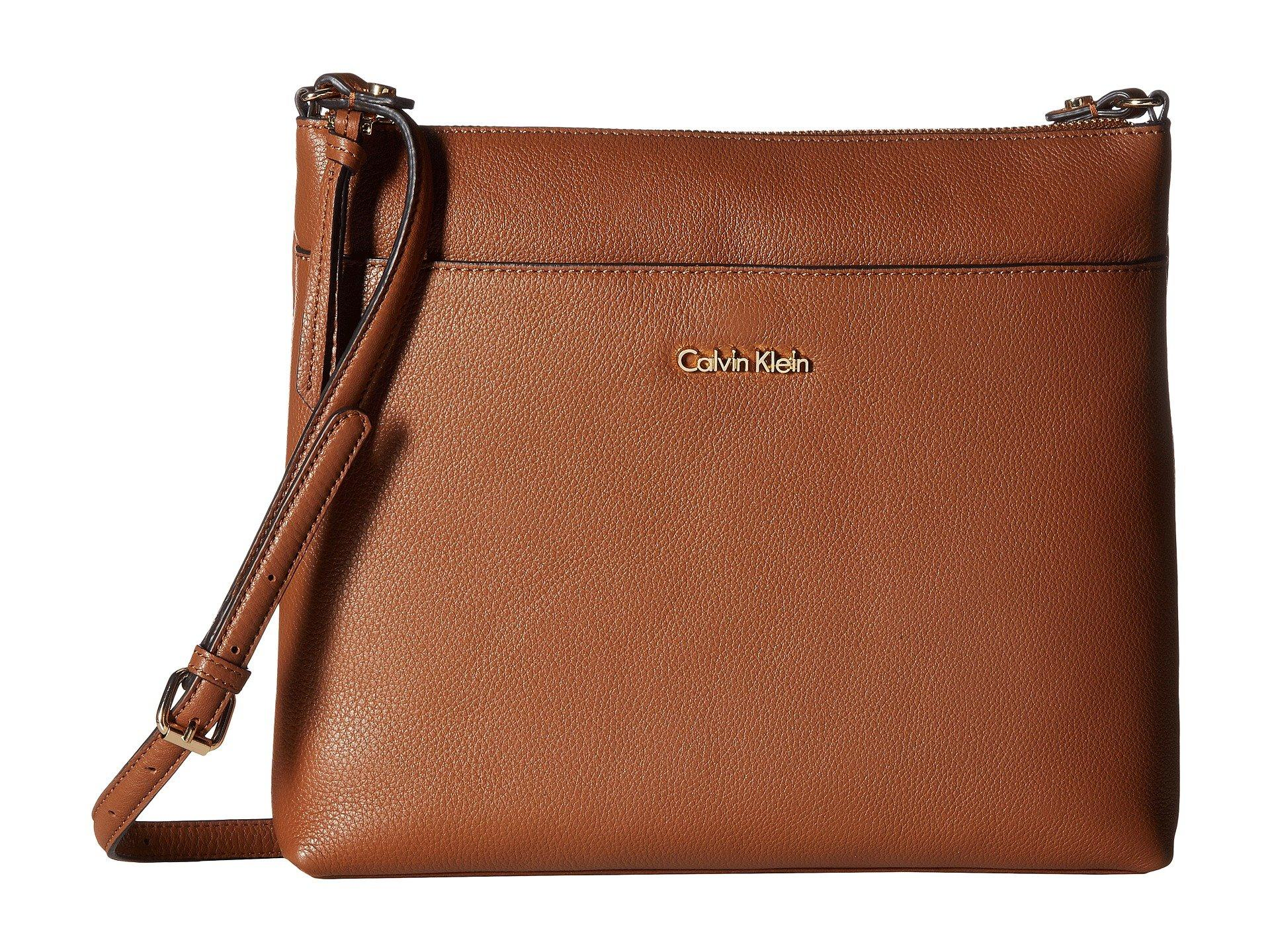 Calvin Klein Pebble Leather Crossbody In Luggage