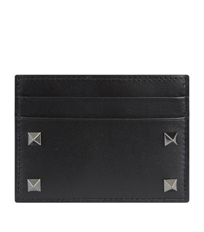 Valentino Garavani Garavani Rockstud Leather Cardholder In Black
