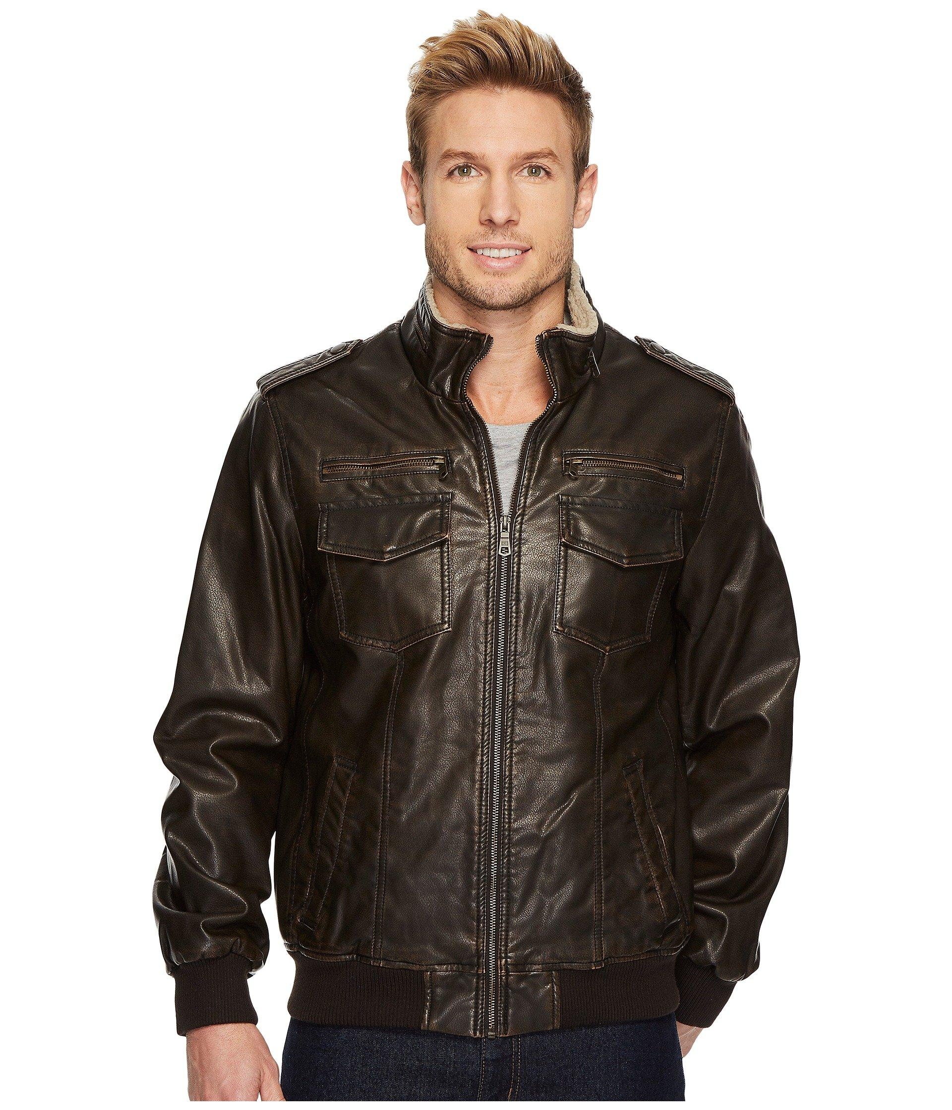 Faux Leather Sherpa Lined Bomber Jacket In Dark Brown