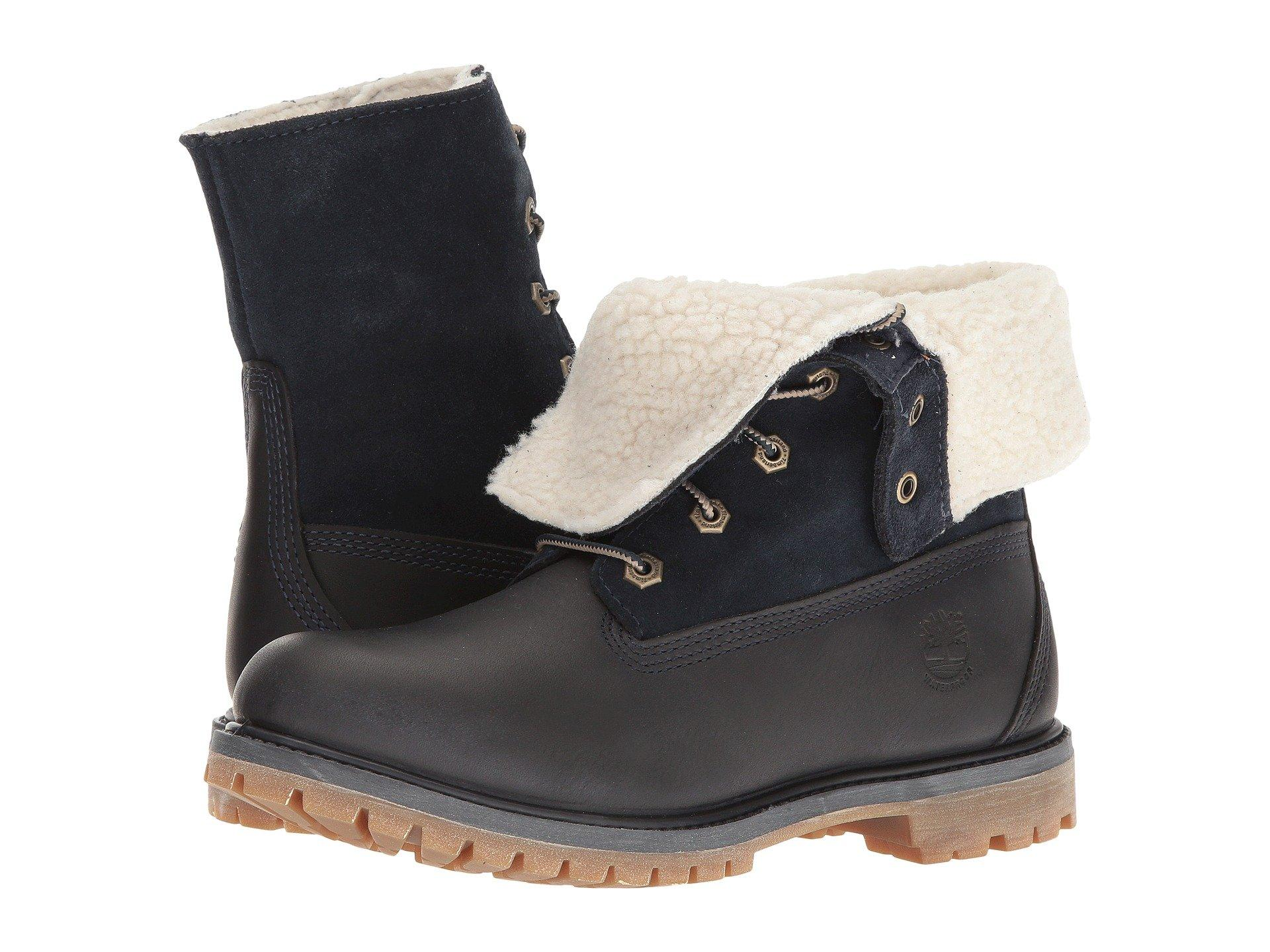 Authentics Teddy Fleece Waterproof Fold Down Boot in Black Iris