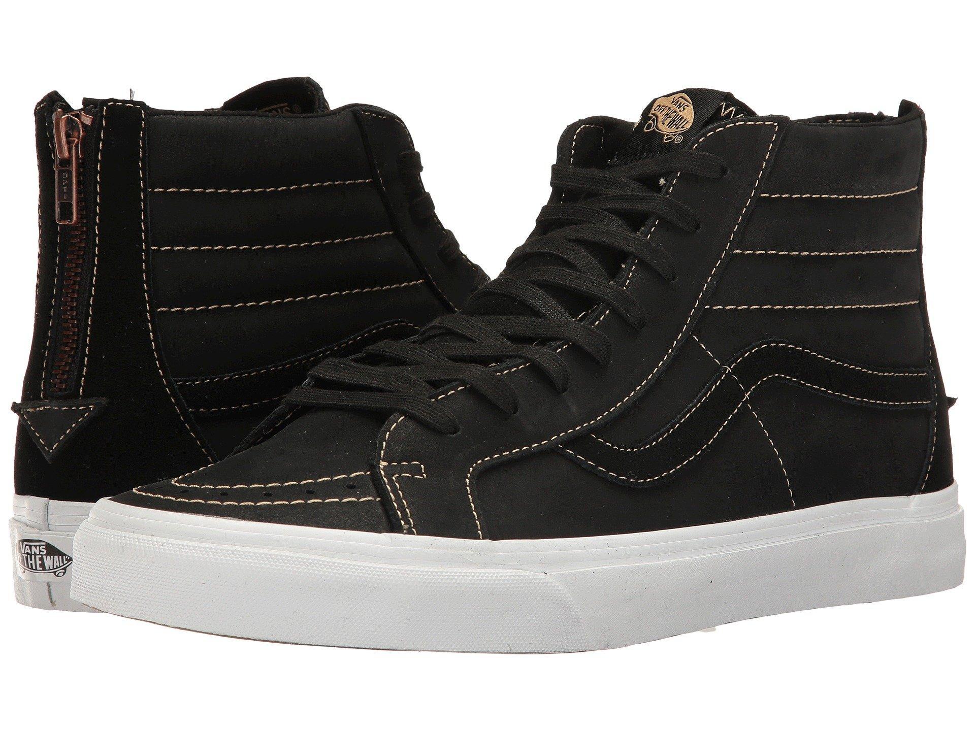 f1ad53cbfe Vans Sk8-Hi Reissue Zip In (Premium Leather) Black Sand