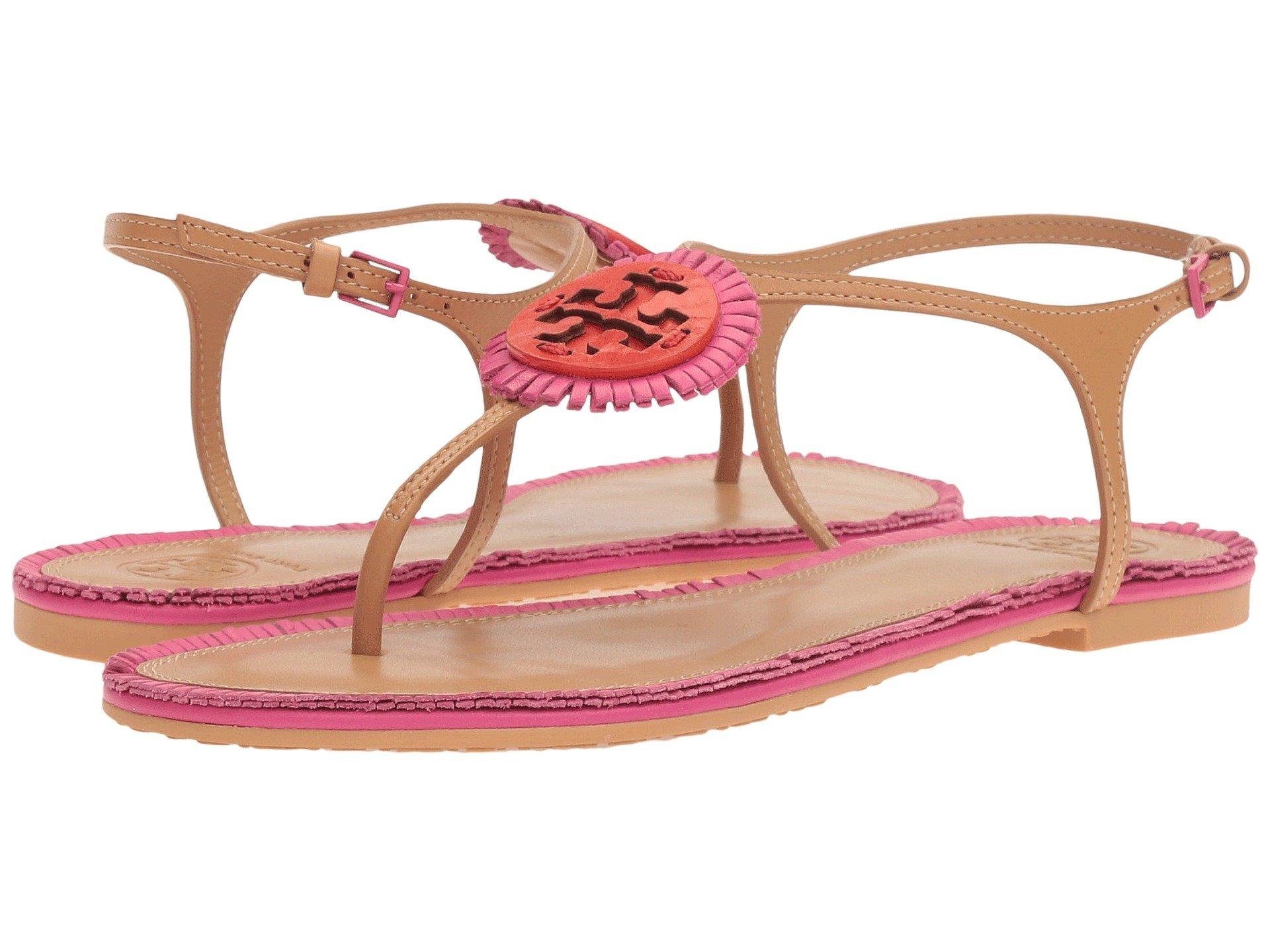 503bc3a0efae Tory Burch Miller Fringe Flat Sandal In Dusty Cypress Hibiscus ...