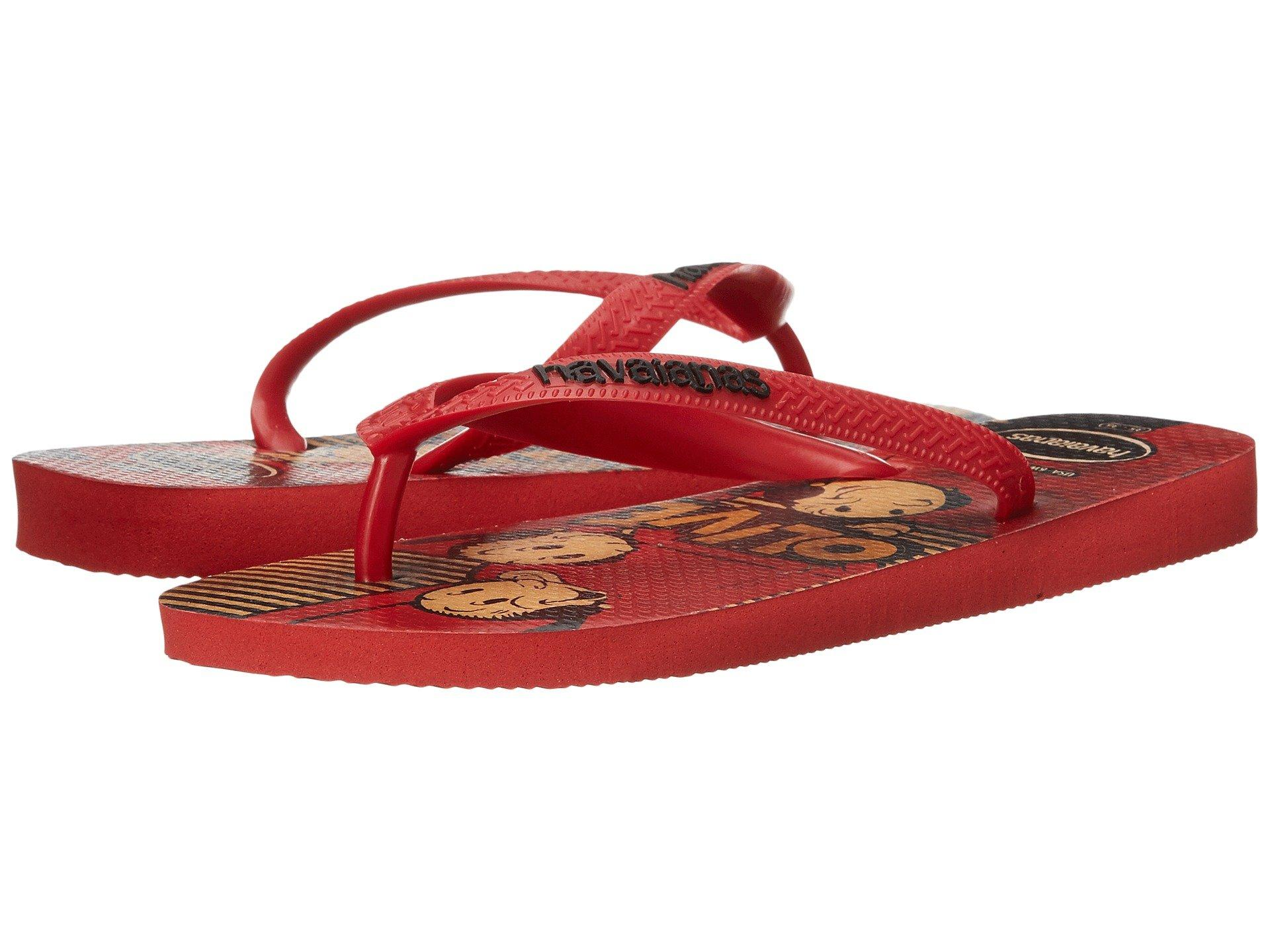 9a2aa6ac8850 Cushioned footbed features Popeye and Olive Oyl graphic print with textured  rice pattern. Flexible rubber sole. Made in Brazil.