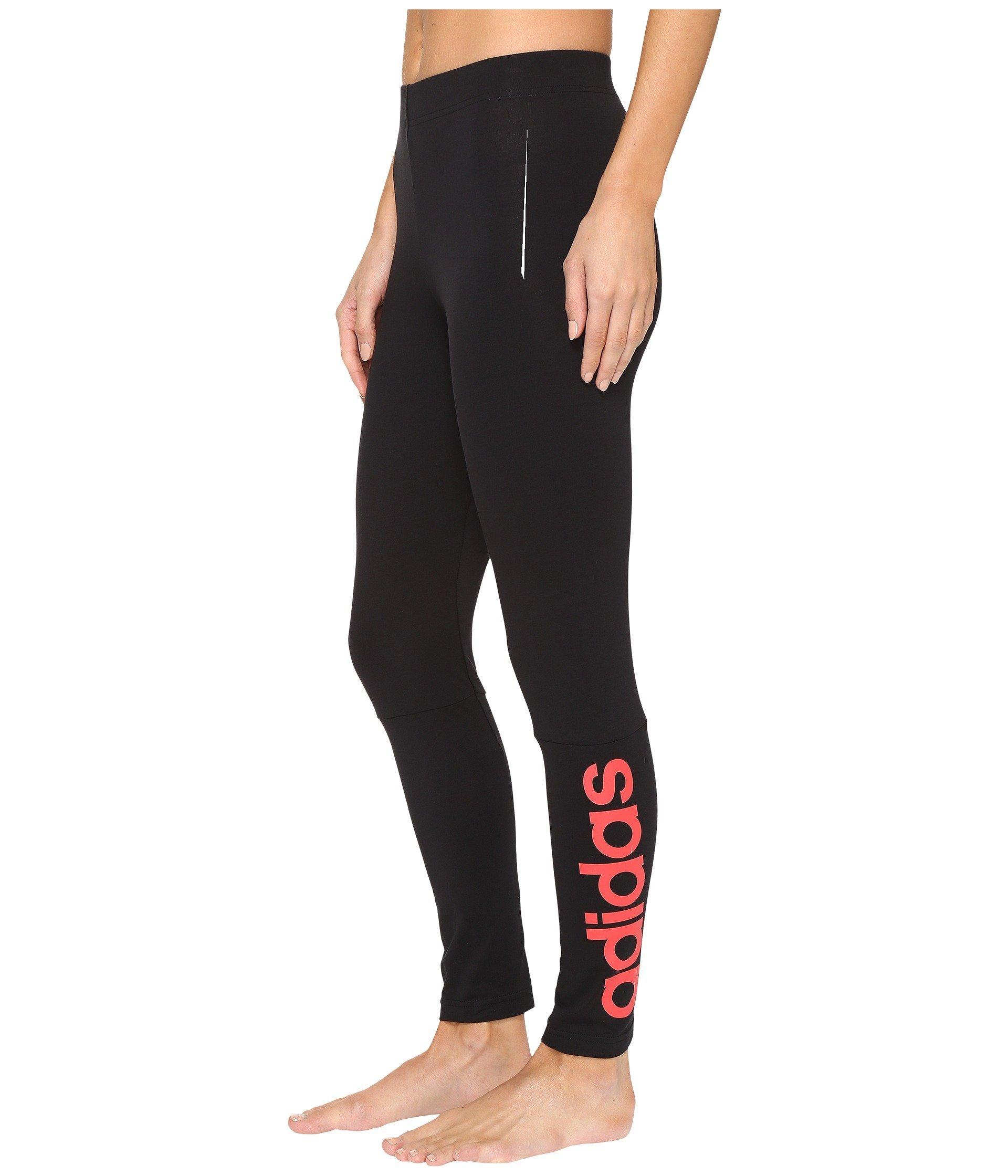 e5b4fc3e317 Adidas Originals Essentials Linear Tights In Black Core Pink
