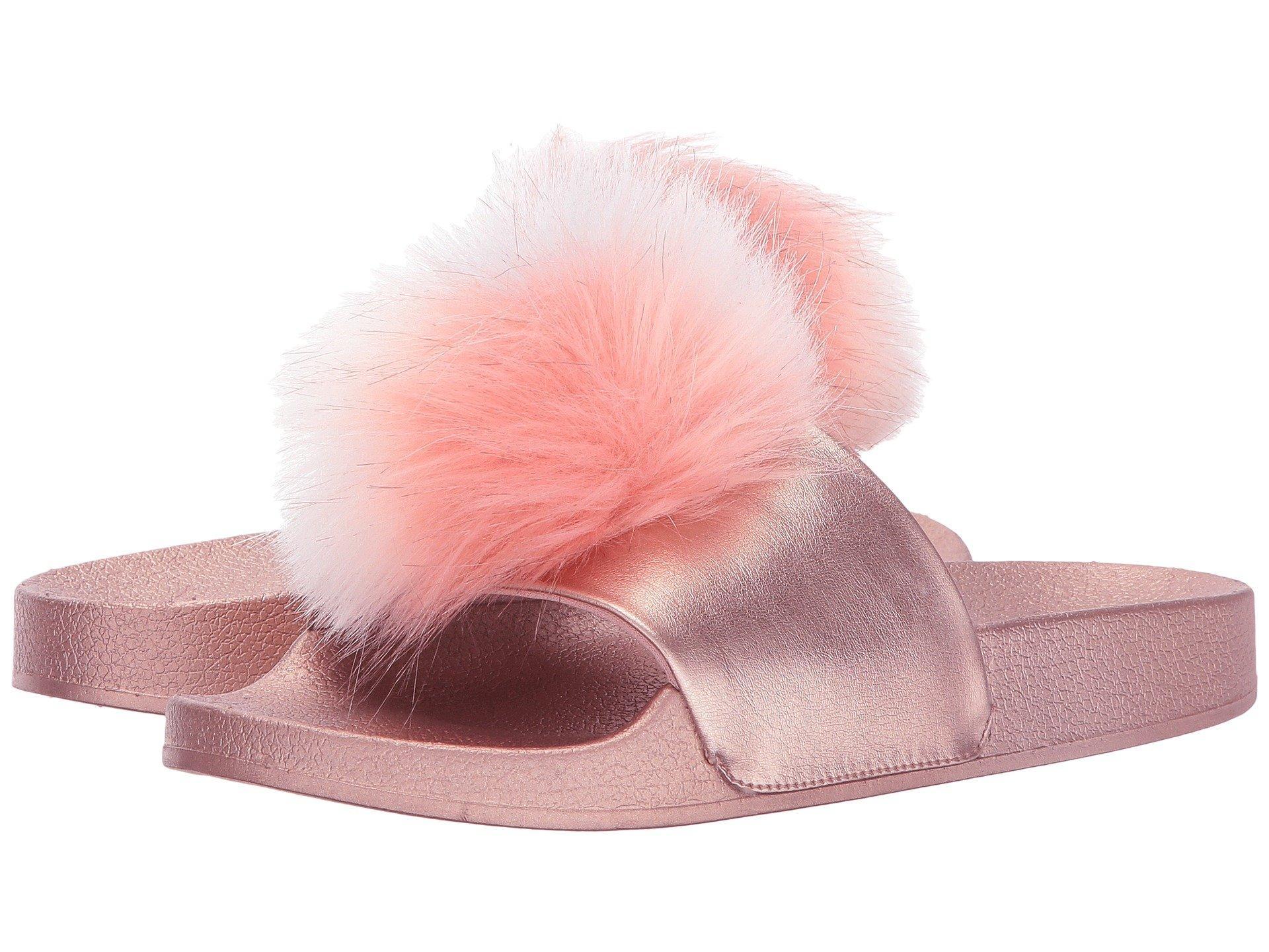 ad40f49e685 Steve Madden Spiral Faux Fur Slide Sandal In Black Multi