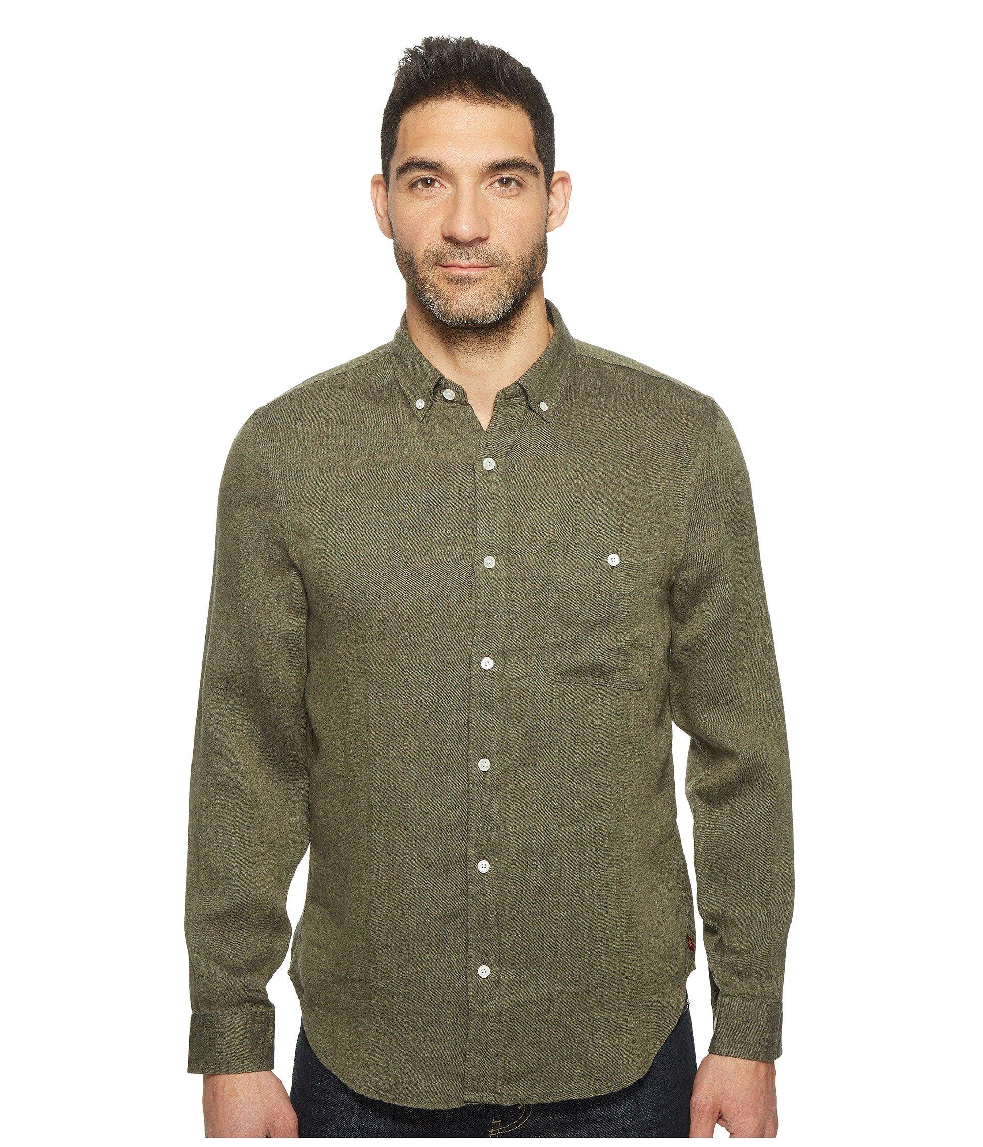 7 For All Mankind Long Sleeve Linen Oxford Shirt In Olive