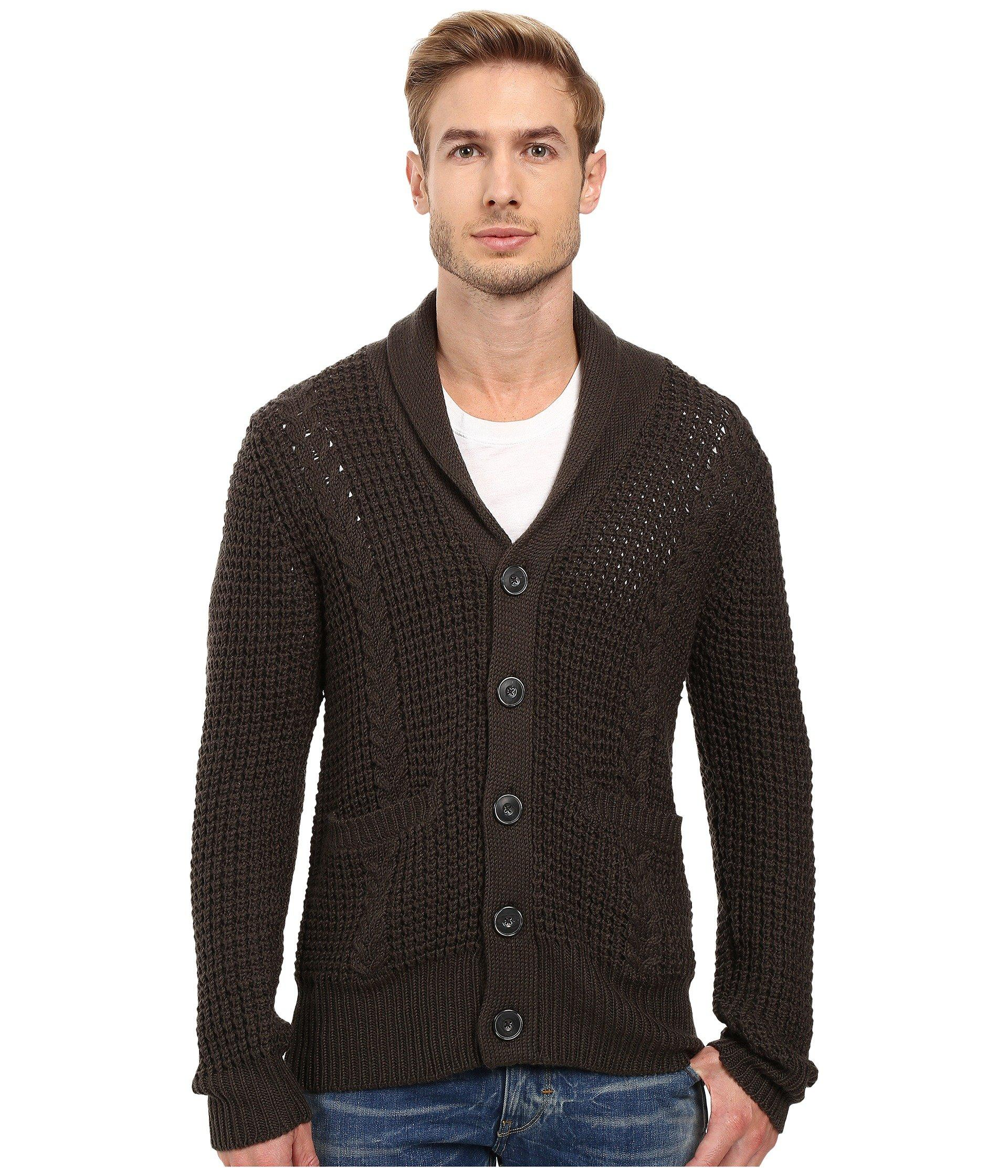 7 For All Mankind Cable Shawl Cardigan In Olive