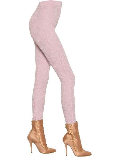 Balmain High Waisted Arabesque Jacquard Leggings In Pink