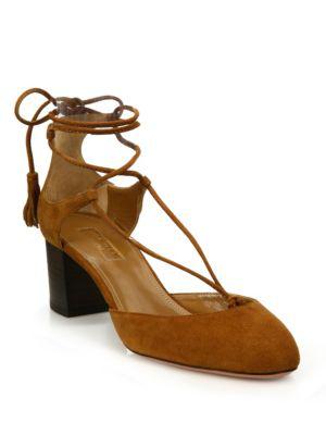 Aquazzura Boheme Suede Lace-up Block-heel Pumps In Cognac