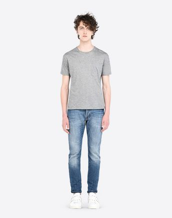 Valentino Rockstud Untitled #9 Cotton T-shirt In Grey