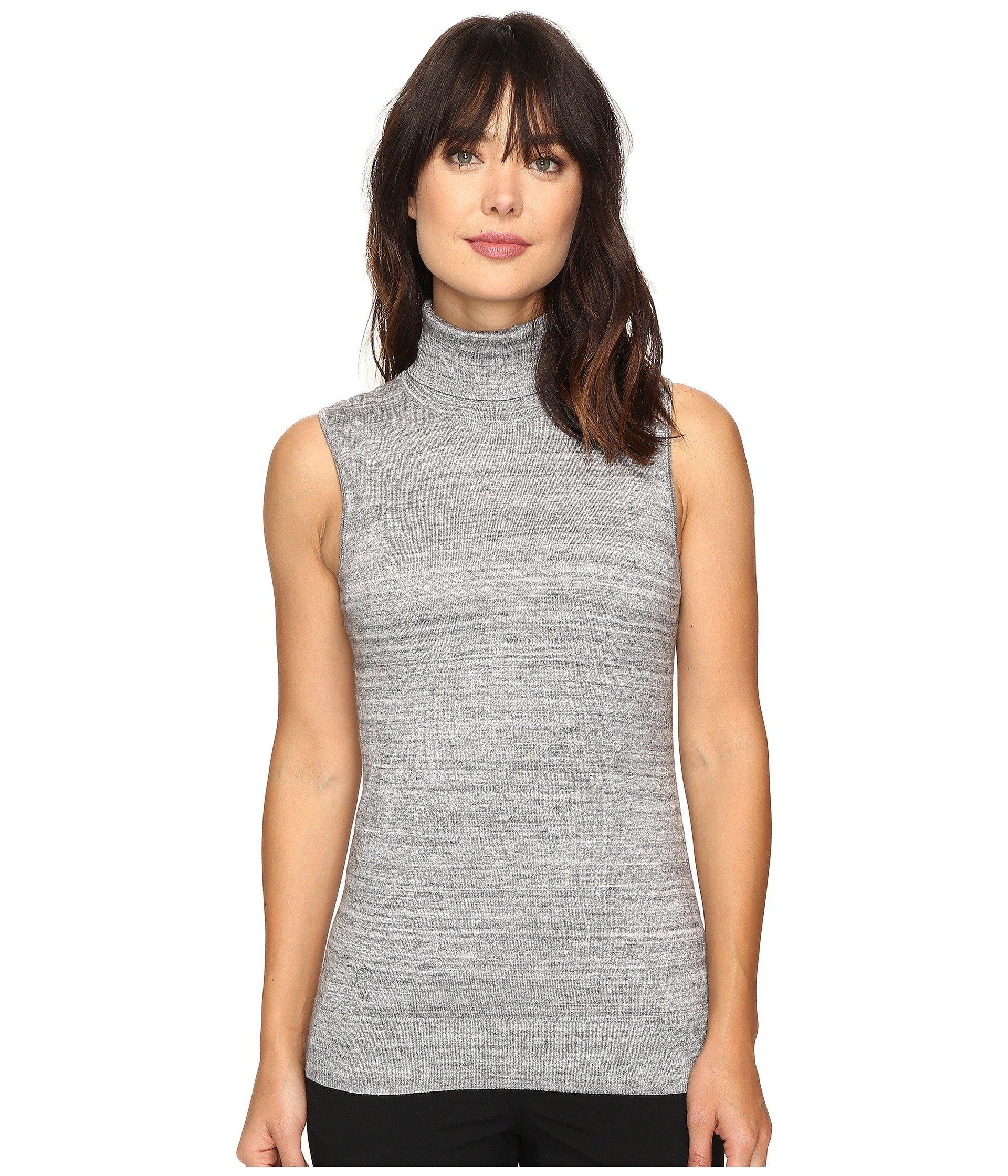 Calvin Klein Sleeveless Turtleneck Sweater In Heather Granite