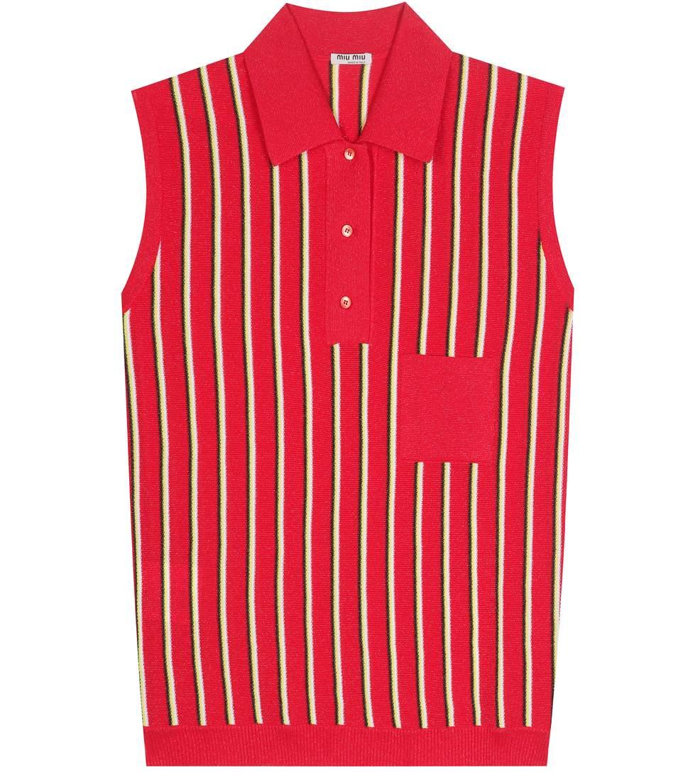 Miu Miu Striped Sleeveless Polo Shirt In Red