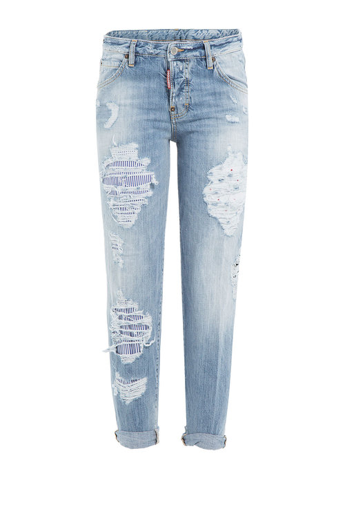 Dsquared2 Distressed Boyfriend Jeans In Blue
