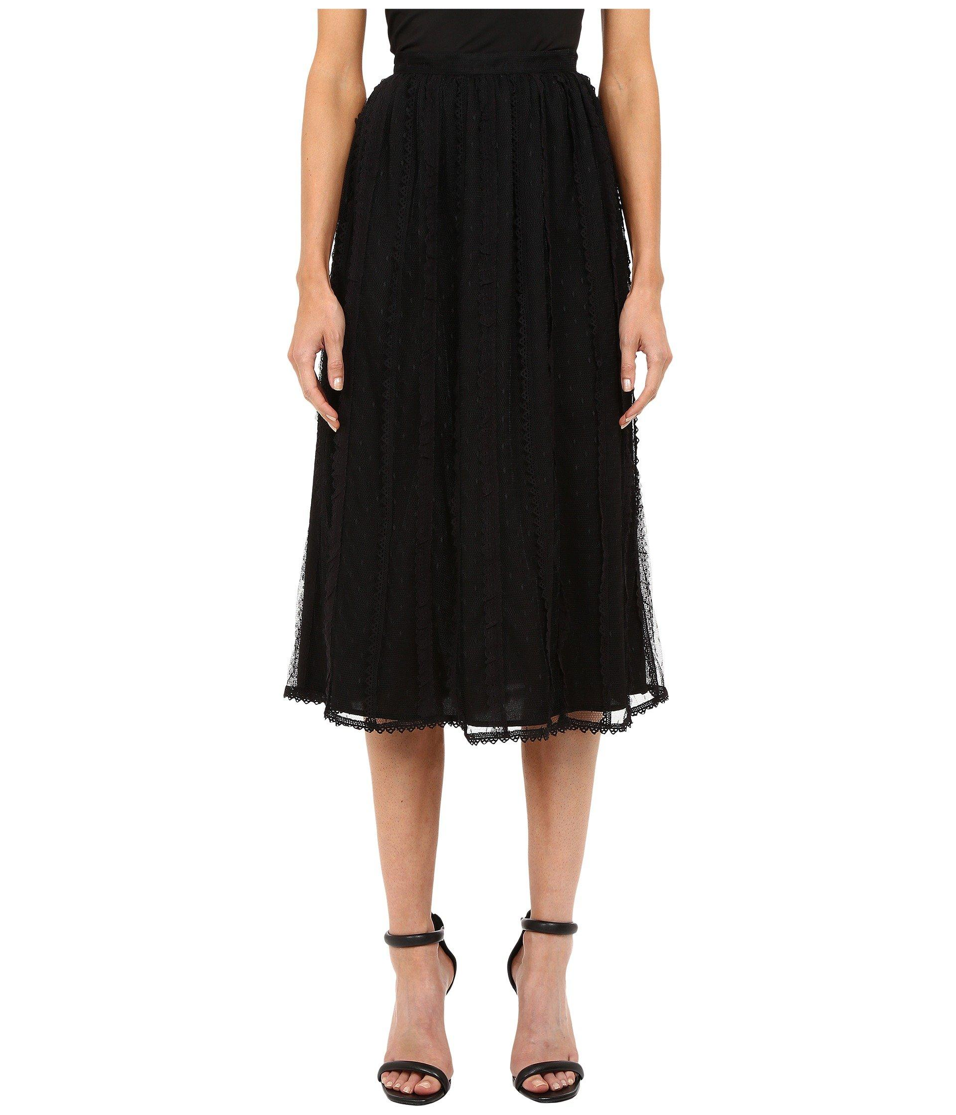 1013e47594 Red Valentino Point D'Esprit Tulle Macrame & Lace Ribbons Skirt In ...