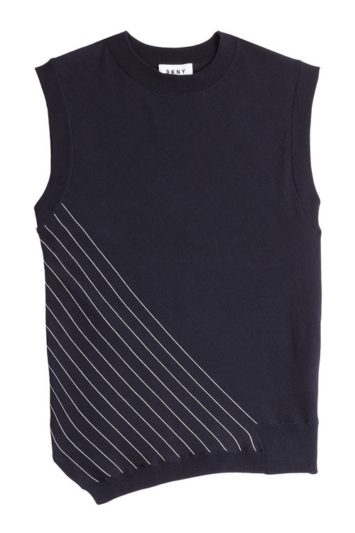 Dkny Sleeveless Cotton Top In Blue