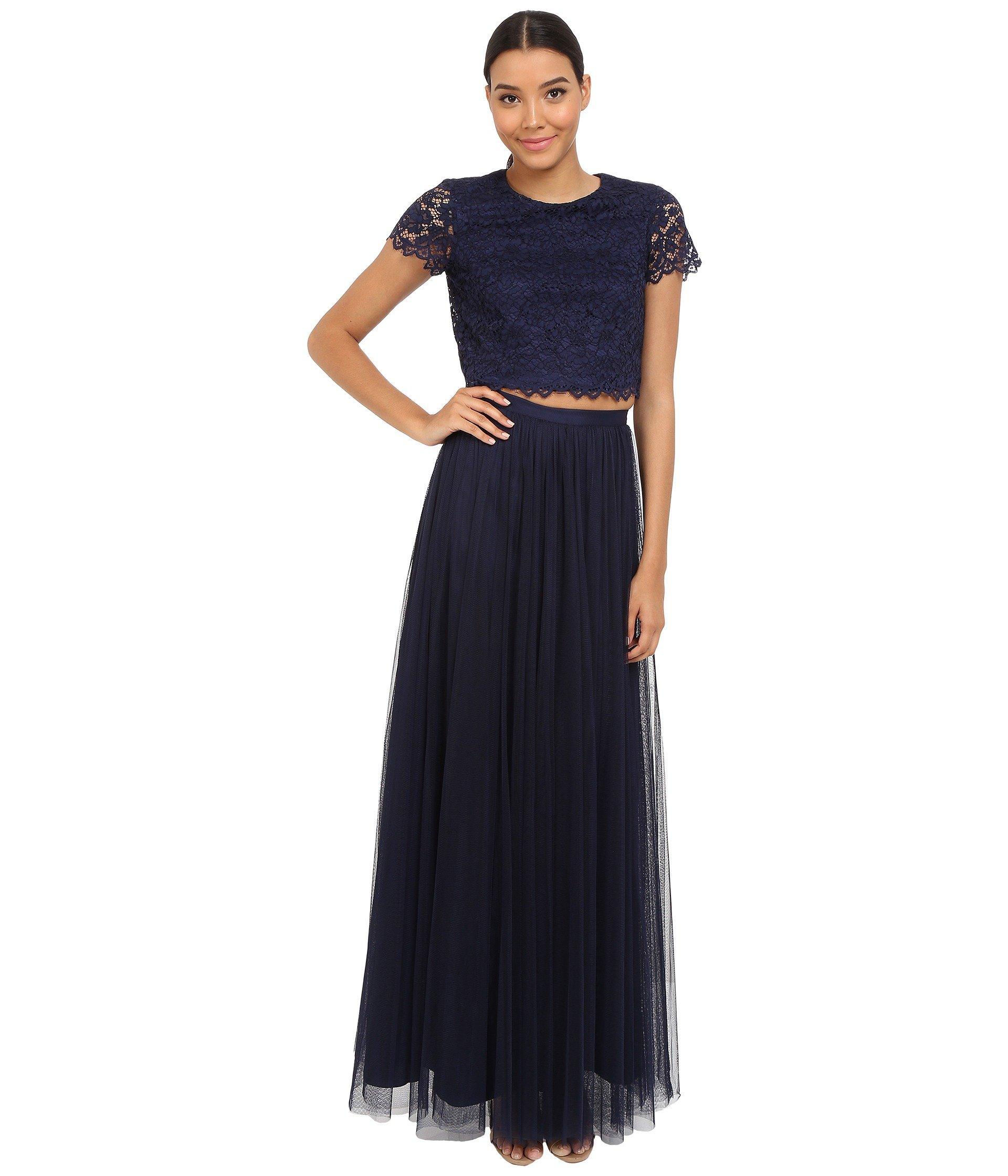6204b02c6 Donna Morgan Amelia Cap Sleeve Top W/ Tulle Skirt In Indigo | ModeSens