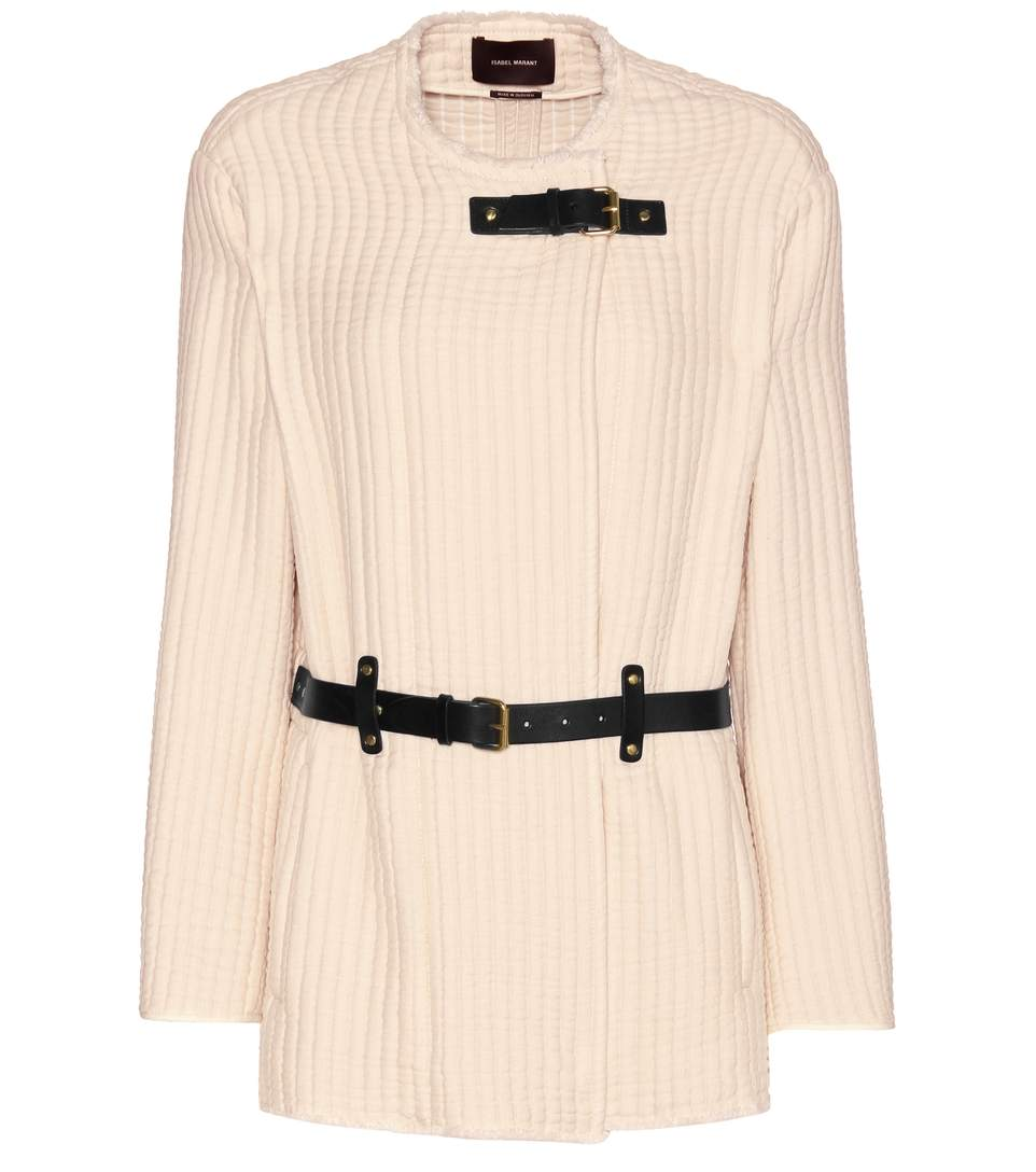 Isabel Marant Glasco Leather-trimmed Cotton Jacket In White