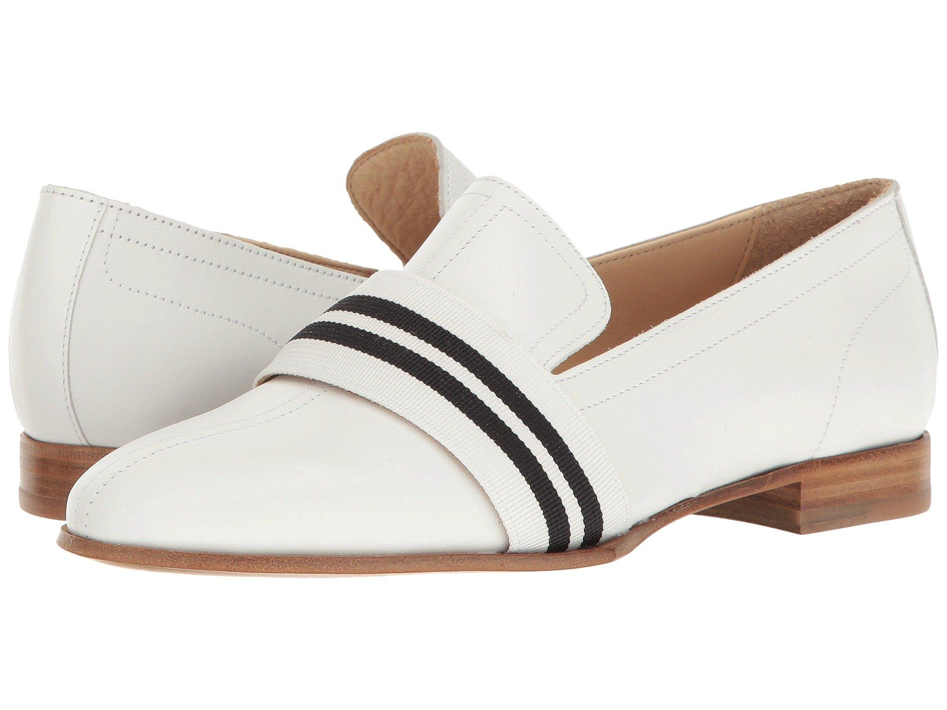 7bfe5a40a9 Rag & Bone Amber Grosgrain-Trimmed Leather Slippers In White | ModeSens