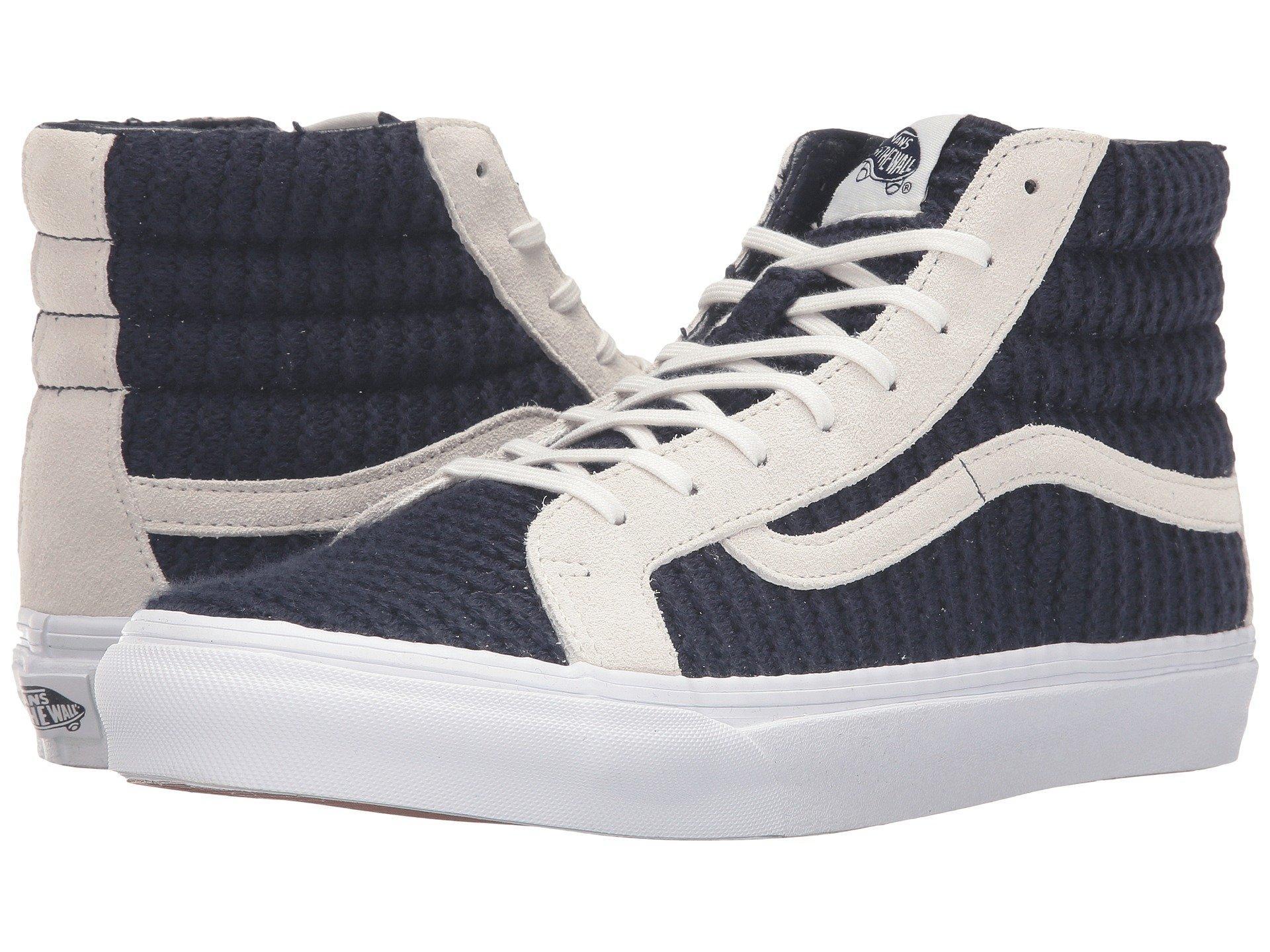 926713e07984dc Vans Sk8-Hi Slim In (Suede Woven) Navy Blue True White