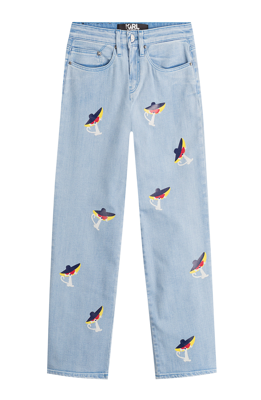 Karl Lagerfeld Cropped Jeans With Choupette Print In Blue