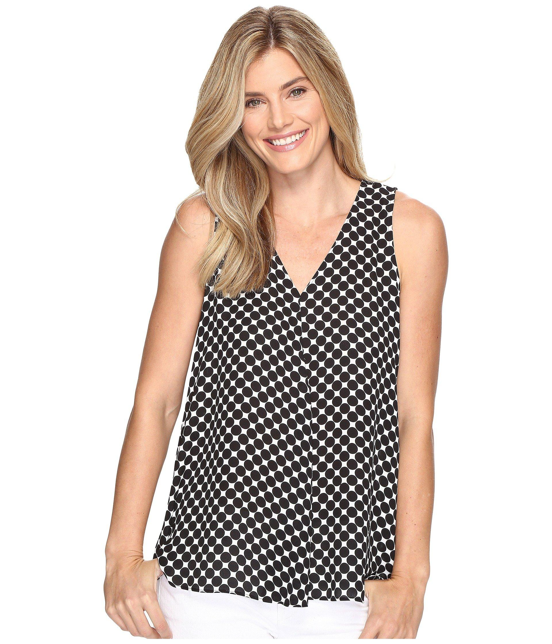 b2462ad007491e Vince Camuto Sleeveless Nautical Dots Drape Front Blouse In Rich Black