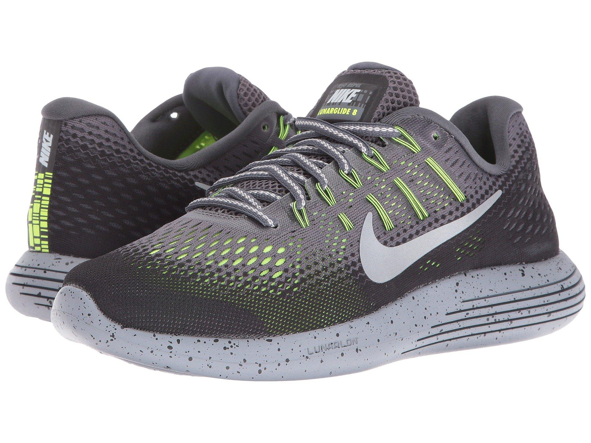 quality design 94a55 c87d2 Nike Lunarglide 8 Shield In Dark Grey Metallic Silver Black Volt