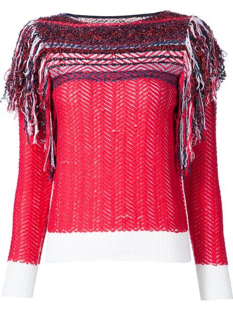 Marc Jacobs Inlay Fairisle Slash Neck Sweater In Red